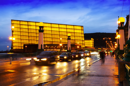 san rafael: DONOSTIA, SPAIN - NOVEMBER 5, 2014: View of Sant Sebastian. Zurriola  bridge over Urumea river and Kursaal  Congress Centre in evening Editorial