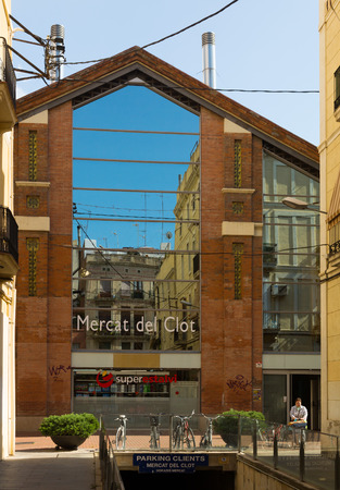 clot: BARCELONA, SPAIN - JULY 12, 2014: Main gate at Clot market  in Barcelona, Spain. Editorial