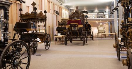 hearse: BARCELONA, SPAIN - JULY 20, 2014: Vintage hearses in interior of Catafalque Museum  in Barcelona