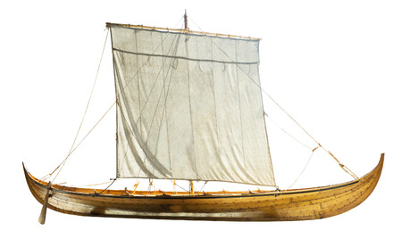 brig ship: Wooden boat with sails unfurled, isolated on white Stock Photo