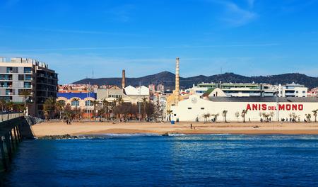 fabrica: BADALONA, SPAIN - MARCH 2, 2014: Fabrica  of Anis del Mono - registered trademark of anise popular Spanish origin (Badalona) brand