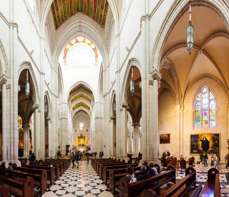 MADRID, SPAIN - APRIL 25: Inside of Almudena Cathedral in April 25, 2013 in Madrid, Spain.  Santa Maria la Real de La Almudena is  cathedra