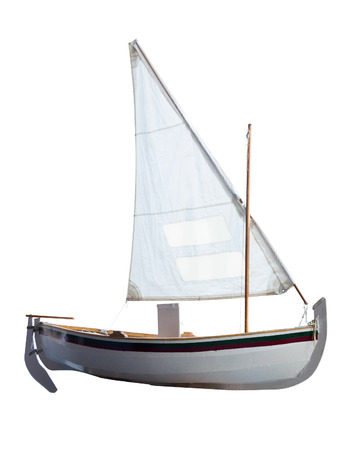 brig ship: Small boat with sails unfurled, isolated on white