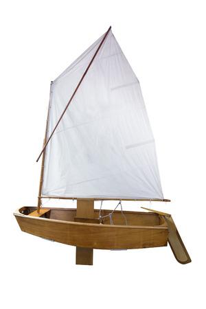 brig ship: Retro yacht, isolated on white Stock Photo