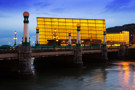 san rafael: View of Sant Sebastian. Zurriola  bridge   and Kursaal  Congress Centre in evening