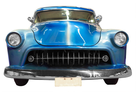 front view: Blue classical vintage  automobile. Isolated over white background Stock Photo
