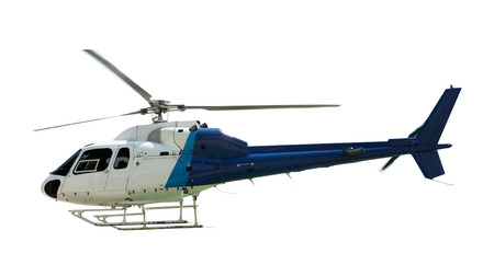 rescue helicopter: Flying helicopter, isolated on white