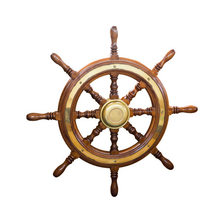 boat: steering wheel of  boat. Isolated over white background Stock Photo