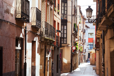 la rioja: Old narrow street in spanish city. Logrono Stock Photo