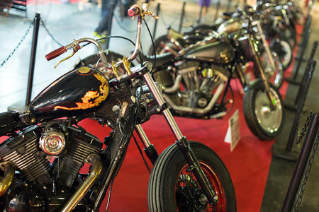 17th: BARCELONA, SPAIN - OCTOBER 3, 2014: Luxury motorcycles at exhibition. The 17th edition of The Barcelona Tattoo Expo Editorial