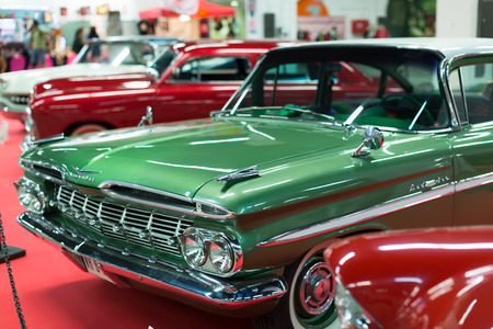 BARCELONA, SPAIN - OCTOBER 3, 2014: Vintage  automobiles at carshow. The 17th edition of The Barcelona Tattoo Expo
