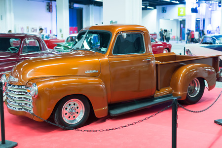 17th: BARCELONA, SPAIN - OCTOBER 3, 2014: Classical vintage  automobile at exhibition. The 17th edition of The Barcelona Tattoo Expo in Fira de Barcelona