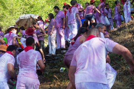 vino: HARO, SPAIN - JUNE 29, 2014: Wet people at  Batalla del vino in Haro Editorial