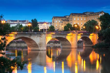 rioja: ancient  bridge over Ebro  in evening. Logrono, La Rioja Stock Photo