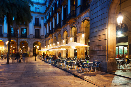 restaurants at Placa Reial. Barcelona, Spain