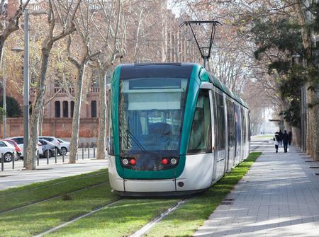 ordinary: Ordinary tramway on street of city. Barcelona, Spain