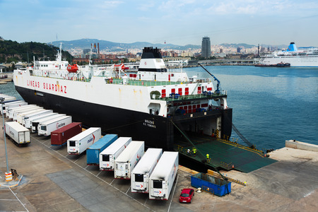 seabus: BARCELONA, SPAIN - AUGUST 1, 2014: Ferry at Port Vell.  Barcelona, Catalonia