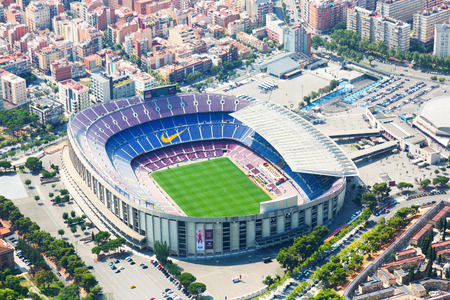 BARCELONA, SPAIN - AUGUST 1, 2014: Aerial view of Camp Nou - largest stadium of Barcelona.  Spain