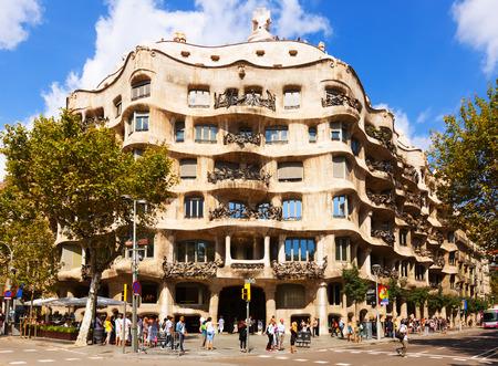 BARCELONA, SPAIN - SEPTEMBER 12: Casa Mila on September 12, 2013 in Barcelona, Spain. House was built in 1905–1910 by Catalan architect Antoni Gaudi Editorial