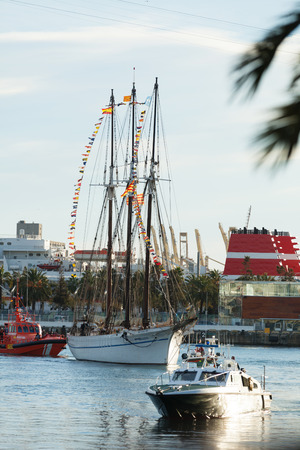 BARCELONA, SPAIN - JANUARY 5, 2014: Cabalgata de Reyes Magos in Barcelona, Spain. Arrival of the Magi to Barcelona port