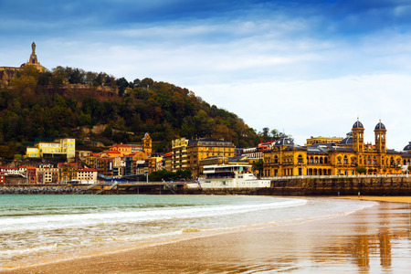 san sebastian: La Concha beach in autumn at San Sebastian. Basque Country Stock Photo