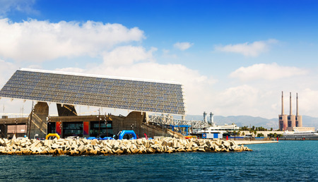 fabrica: Photovoltaic plate at Forum area and  power plant in Barcelona, Spain