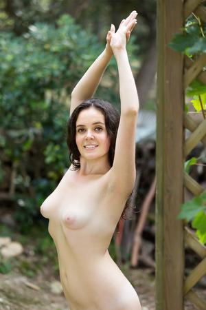 young nude girl: Junge nackte M�dchen posiert im Sommergarten