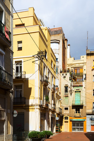 olden day: yard in old city.  Barcelona, Spain Stock Photo