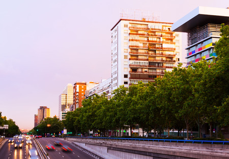 paseo: Paseo de la Castellana in sundown time.  Madrid, Spain Stock Photo