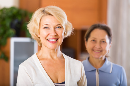 woman middle age: Portrait of happy female pensioners Stock Photo