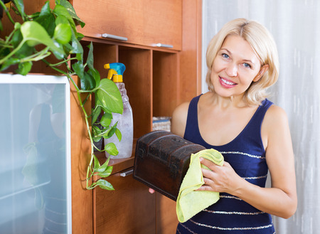 cleanser: Mature houswife dusting wooden furniture with rag and cleanser at home Stock Photo