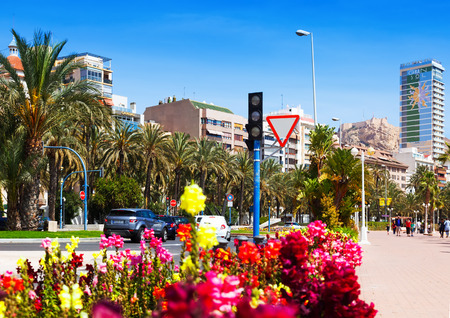 ALICANTE, SPAIN - APRIL 14, 2014: Avenue Admiral July Guillen Tato in Alicante. Place for walking residents and vacationers
