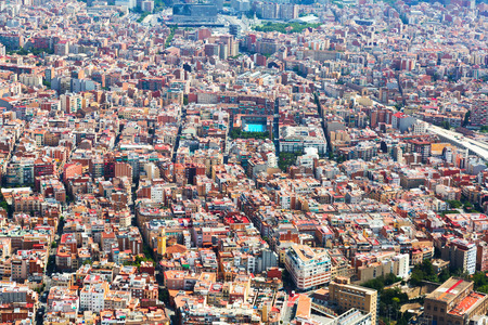 residential district: Aerial view of Sants-Montjuic residential district from helicopter. Barcelona, Catalonia Stock Photo