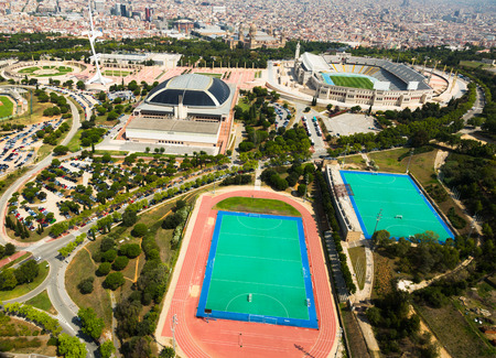 montjuic: aerial view of Olimpic area of Montjuic. Barcelona, Spain