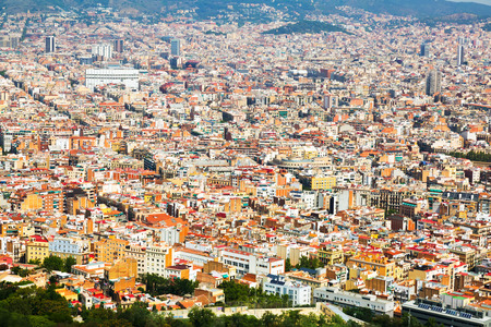 residential district: Aerial view of   residential  district in european city. Barcelona, Spain Stock Photo