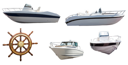 motor boats: Set of steering wheel and motor boats. Isolated over white background