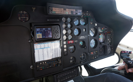 Closeup of interior of helicopter cabin