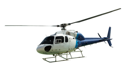 searcher: White helicopter with working propeller, isolated on white