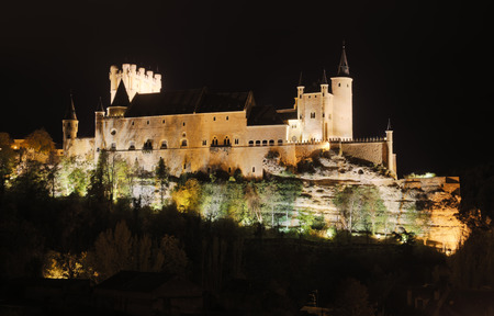 castile leon: midnight view of Castle of Segovia.  Spain Editorial