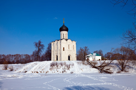 nerl: Church of the Intercession on the River Nerl (build in 1158) in winter. Russia