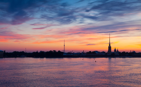 View of St. Petersburg. Peter and Paul Fortress in summer dawn