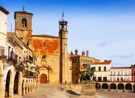 mayor: Day view of   Plaza Mayor. Trujillo, Spain Stock Photo