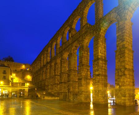 acueducto: Roman Aqueduct of Segovia in  night. Spain