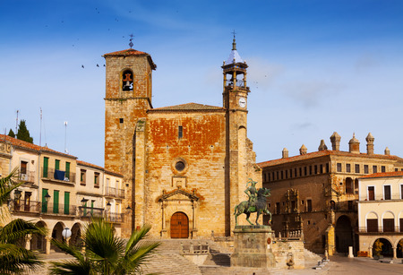 Day view of Plaza Mayor at Trujillo in autumn. Caceres, Spain