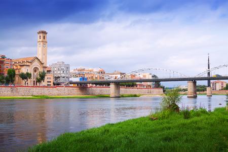 ebre: view of Ebro  with bridge in Tortosa. Catalonia,  Spain