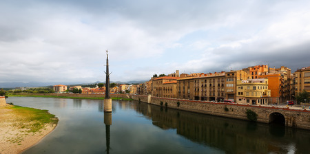 ebre: Day view of Ebre  in Tortosa, Spain. Monument to  Battle of the Ebro at river Stock Photo