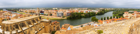 ebre: general panoramic view of Tortosa with Ebre river from Suda castle. Catalonia, Spain Stock Photo