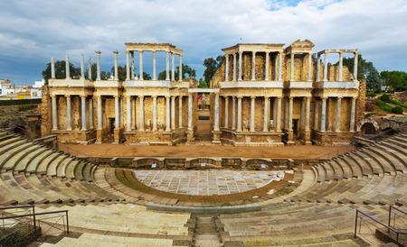 merida: ruin of Antique Roman Theatre at Merida. Spain