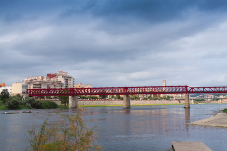 ebre: View of Ebre river in Tortosa, Spain Stock Photo