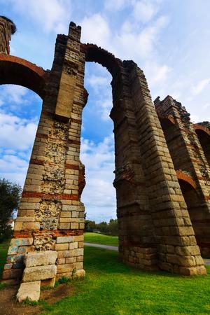 merida: Wide angle shot of  roman aqueduct. Merida, Spain